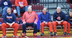 The Anderson County coaching staff looks on during Saturday's win at Owen County. They are, from left: Assistant coach Nick Cann, head coach Clay Birdwhistell, and assistant coaches Bob Osborne, Jeff Hawkins and Charlotte Holtzclaw.