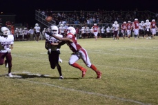 Kynan Russell dives for a pass ...