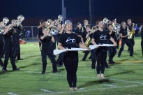 The LaRue County band performs at halftime.