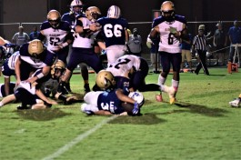 Jeremiah Belton reaches just enough for the ball to break the goal line and put LaRue County ahead.
