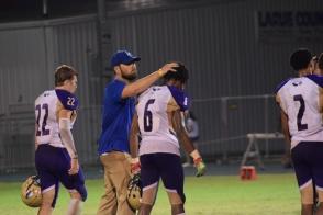 LaRue coach Josh Jaggers congratulates Campbellsville's Malachi Corley for a great game.